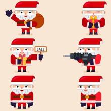 Set Of Flat Cartoon Santa Clau...