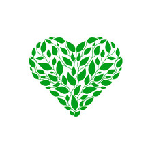 Creative Heart Made From Green Leaves Logo Vector, Green Heart With Leaves Vegan Herbal Healthcare