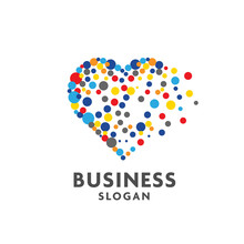 Creative Cute Vector Hearts Made Of Colorful Dots, Colorful Circle Dot As Heart Logo