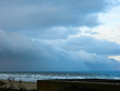 Italy, Mediterranean sea, stormy clouds in Rimini in winter.
