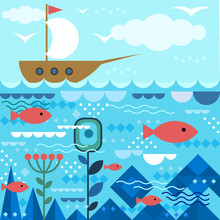 Sea Design With Fishes And Ship In Modern Flat Geometric Style. Colorful Vector Background, Abstract Shapes.