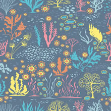 Seamless Seaweed And Plankton Underwater Background. Vector Illustration.