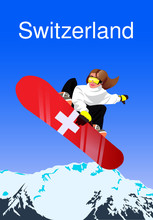 Switzerland Resort Poster With Girl In Cartoon Style On Mountains Background. Vector Illustration.