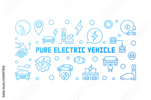 Fotografía  Pure electric vehicle blue modern horizontal banner or illustration in outline s