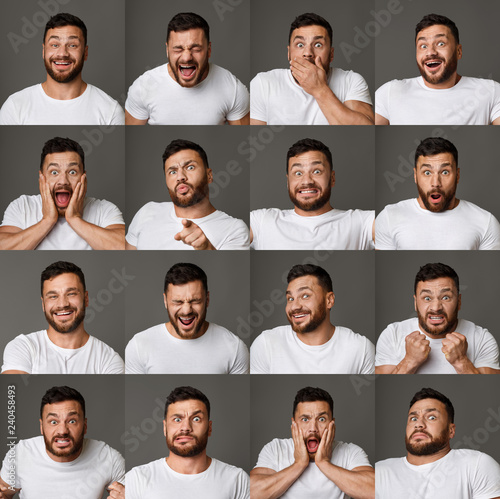 Fotografia Collage of young man expressions and emotions