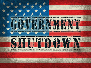 Government Shut Down Flag Means United States Political Shutdown