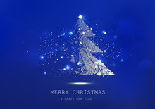 Merry Christmas, Tree Polygon, Confetti, Golden Glowing Particles Scatter, Poster, Postcard Blue Luxury In Winter Background Seasonal Holiday Vector Illustration