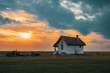 sunset over house of shepherds in Hortobagy National Park, Hungary, puszta is famous ecosystems in Europe and UNESCO World Heritage Site