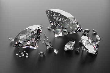 Brilliant diamonds on a dark metallic surface