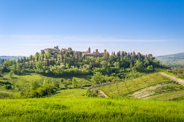 Fototapeta na wymiar Certaldo old town view from the green fields of Toscana.