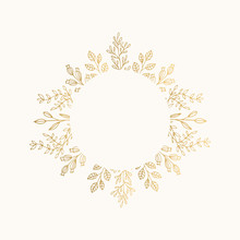 Luxury Golden Circle Frame For Holiday Invite, Wedding, Certificate. Round Borders With Gold Leaves.