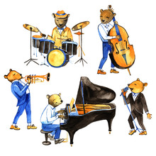 Watercolor Jass Band Music. Illustration With Bears Musicians. Drummer, Singer, Pianist, Double Bass Player, Trumpeter.