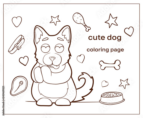 Cartoon Character Cute Dog Coloring Page Puppy Buy This Stock