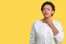 Beautiful Young African American Woman Wearing Sweater Over Isolated Background Touching Painful Neck, Sore Throat For Flu, Clod And Infection