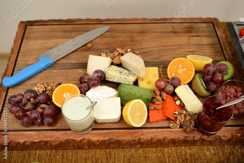 Aluminium Prints assorted cheeses with walnuts and olives