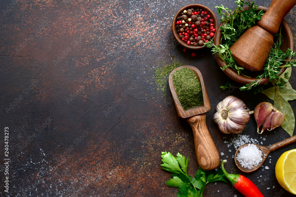 Fototapety, obrazy: Culinary background with selection of spices, herbs and greens.Top view with copy space.