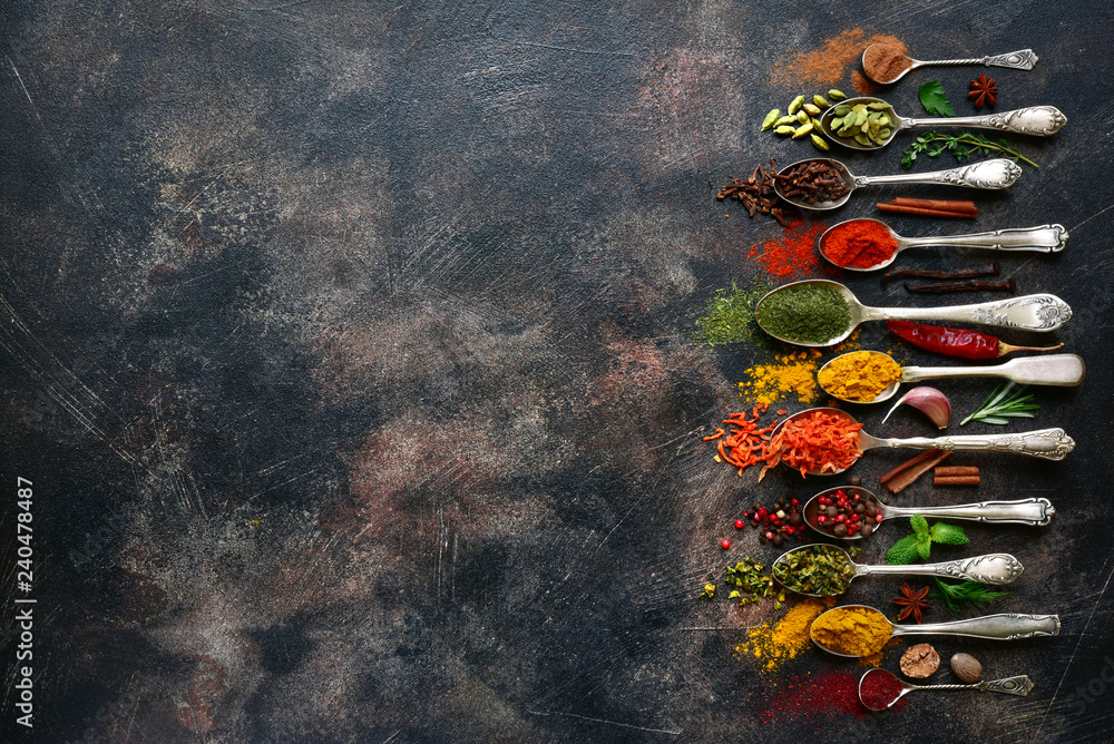 Fototapety, obrazy: Assortment of natural spices on a vintage spoons.Top view with copy space.