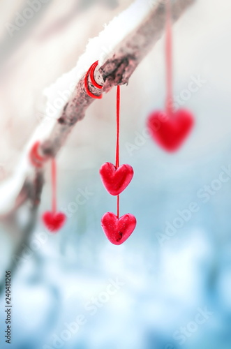 Fototapeta Red hearts on snowy tree branch in winter. Holidays happy valentines day celebration heart love concept. obraz