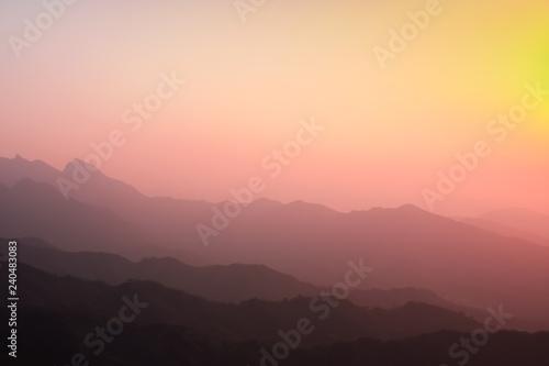 Fototapety, obrazy: Yellowish red sunset because of smog in china. Plot Mutianyu