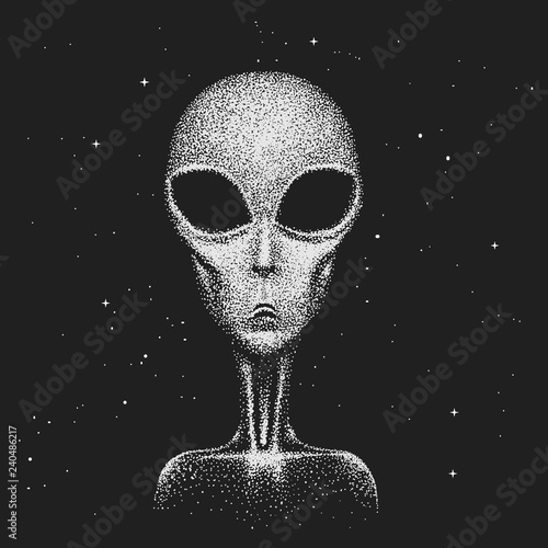 Face of alien in space. Wall mural