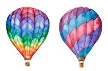 Hot Air Balloons. Hand Drawn Watercolor Illustration