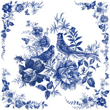 Silk Scarf With Floral And Wild Animal. Pheasant Illustration. Vintage Design Shawl With Roses. Fairytale Forest. Hand Drawn Flower Line Graphics. Fashion Textile Design Indigo Color.