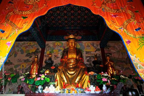 bodhisattva sculpture in Dajue Temple, China Canvas Print