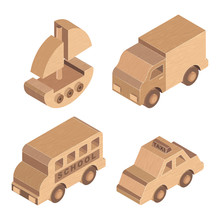 Wooden Toy Transportation On White Background, Retro Old Toy Wooden Truck, Taxi, Boat, Vector Illustrator