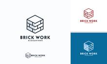 Modern Flat Brick Logo, Brick Work Simple Modern Logo Template