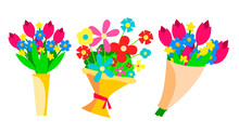 Flowers Bouquets Set Vector. B...