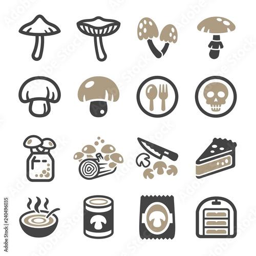 Fototapeta mushroom icon set,vector and illustration obraz