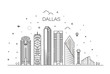 Texas Dallas architecture line skyline illustration. Linear vector cityscape with famous landmarks