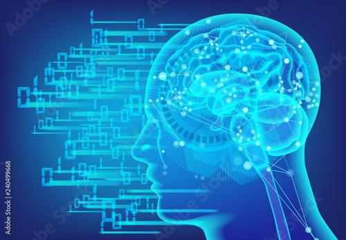 Fotografering  人口知能AIのネットワークとデジタル背景