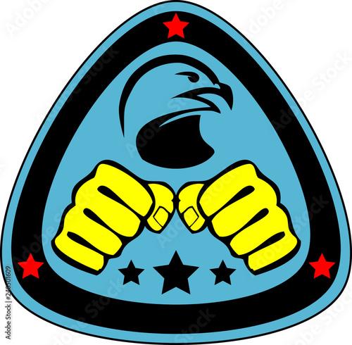 Photo Martial art colored simbol design. Karate emblem.