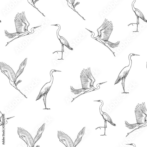 Tablou Canvas Seamless pattern, background with tropical birds