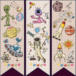 childrens colored drawings_7_on the space theme, science and the emergence of life on earth, in the style of Doodle