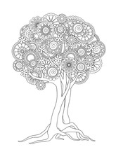Tangled Tree With Mandalas And Flowers