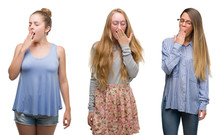 Collage Of Group Of Blonde Women Over Isolated Background Bored Yawning Tired Covering Mouth With Hand. Restless And Sleepiness.