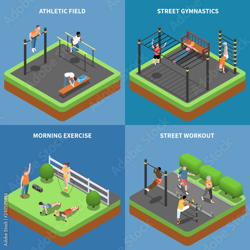 Street Workout Isometric Design Concept