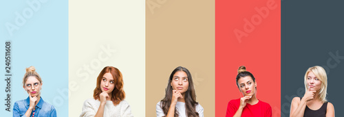 Fotografie, Obraz  Collage of group of beautiful casual woman over vintage autumn colors isolated background with hand on chin thinking about question, pensive expression