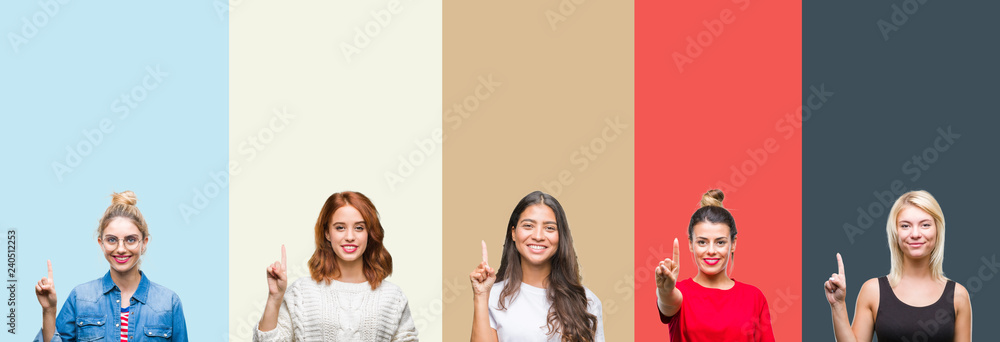 Fototapeta Collage of group of beautiful casual woman over vintage autumn colors isolated background showing and pointing up with finger number one while smiling confident and happy.