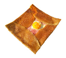 Crepe Complet Isolated On White Background - Breton Traditional Meal: Pancake From Buckwheat Flour With Ham, Cheese And Egg