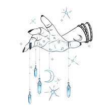 Female Hand With Gem Pendants And Moon Hand Drawn Vector Illustration. Boho Chic Astrology Tattoo, Poster, Tapestry Or Altar Veil Print Design.