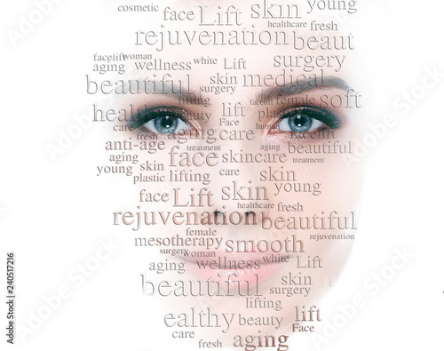 Fotografía  Lifting skin and rejuvenation skin and cosmetology on female face