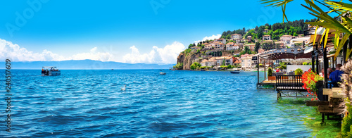 Tuinposter Mediterraans Europa View of the scenic lake Ohrid, Ohrid, Macedonia