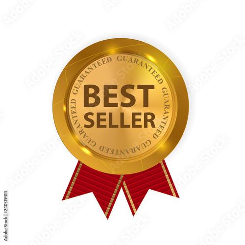 Fotografía  Gold Label Best Seller. Vector Illustration