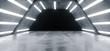 Futuristic Alien Ship Sci Fi Modern Hi Tech Grunge Concrete Reflective Texture Corridor Tunnel Empty Dark Space And White Glowing Led Bright Lights Background 3D Rendering