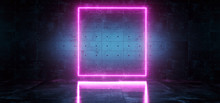 Sci Fi Background Dark Concrete Futuristic Modern Empty Room With Neon Glowing Purple Vibrant Pink Rectangle Shaped Neon Tube Frame Light With Reflection 3D Rendering