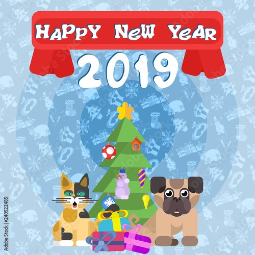 poster for the new year. cat with a dog near the New Year tree
