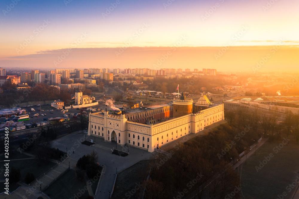 Fototapeta Lublin z lotu ptaka o poranku